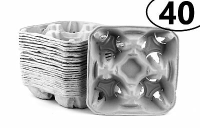 40 Pack Pulp Fiber 4 Cup Drink Carrier Tray Biodegradable Stackable Compostable