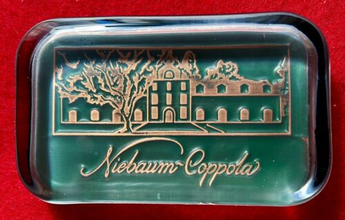 """Niebaum - Coppola Winery Paperweight - Glass - 4"""" x 2.5"""" - Beautiful Art Work"""