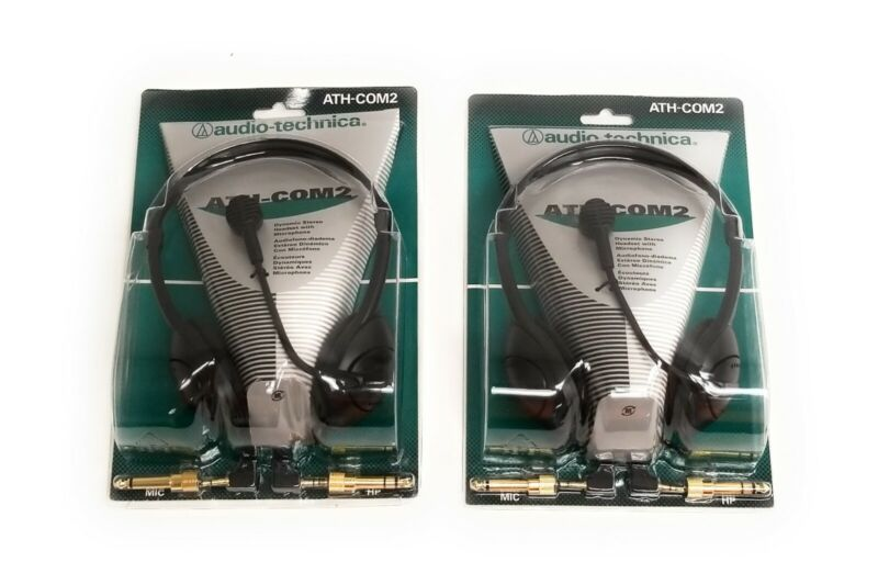 (2) New Audio-Technica ATH-COM2 Monophone/Dynamic Boom Microphone Combo Headsets