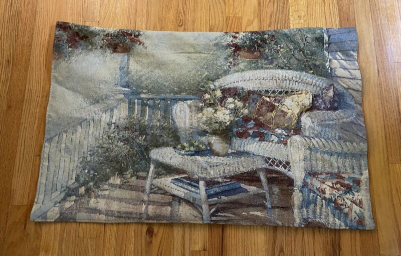 wall art tapestry wicker chair floral outdoor porch scene