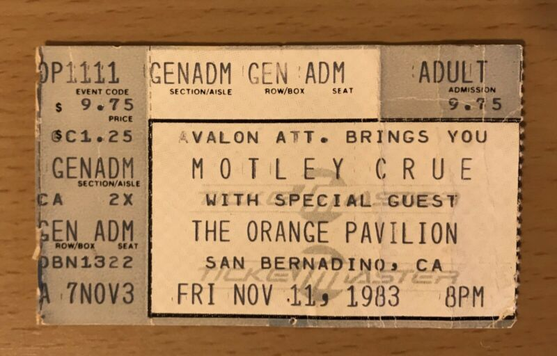 1983 MOTLEY CRUE SHOUT AT THE DEVIL TOUR SAN BERNADINO CONCERT TICKET STUB SIXX