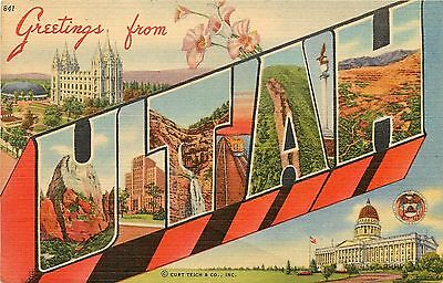 Vintage Linen PC; Large Letters 841 Greetings from Utah, Curt Teich