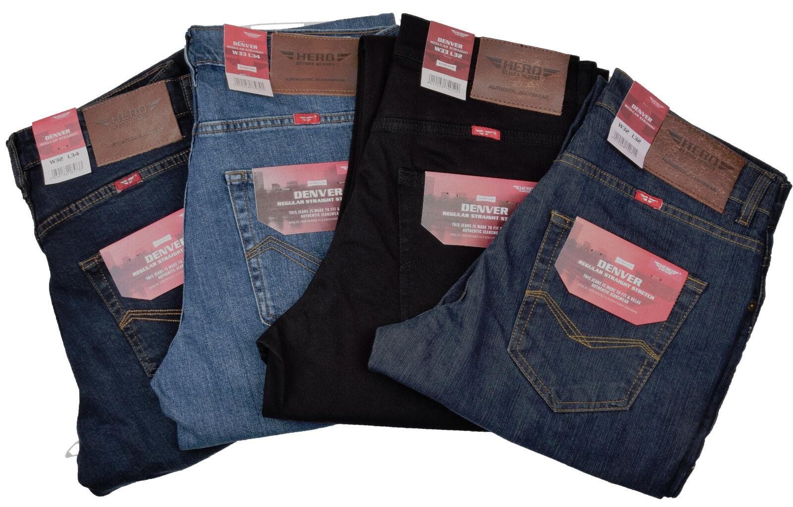 Hero Denver Stretch Jeans Hommes Stonewash Pantalons Pantalon STOOKER 4 Couleurs Neuf