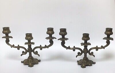 Antique Three Branch Spelter Candelabra Grapevine Design