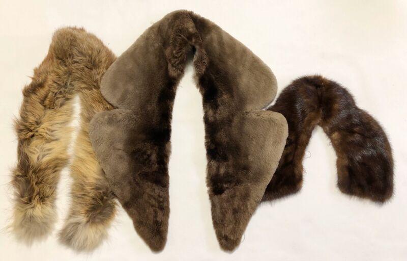 Lot of 3 Vintage REAL Fur Collars; Various Styles & Sizes (RF1076)
