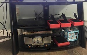 Glass TV stand 3  shelves obo