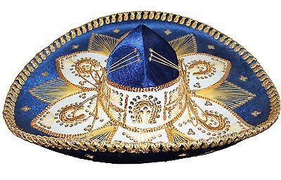 Adult Mexican Mariachi Hat Sombrero Charro Cinco de Mayo Royal Blue Gold (Cinco De Mayo Hat)