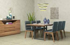 FACTORY OUTLET: New Solid Hardwood Dining Table With 8 Chairs