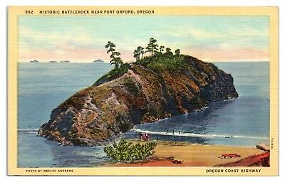 Mid-1900s Battlerock near Port Orford, OR Postcard