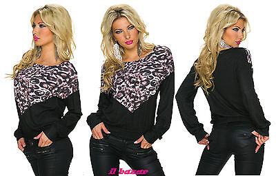 maglia maglietta donna nero maculato a v manica lunga taglia unica nuovo