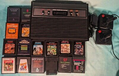 Atari 2600 Vader Black Console with 16 Games Combat, Defender- Tested & Working!