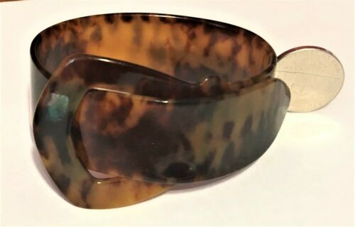 ART DECO faux TORTOISE SHELL BUCKLE BRACELET CUFF 1 5/8 inches wide at widest