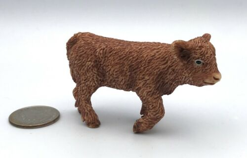 Schleich SCOTTISH HIGHLAND COW CALF Brown Dairy Farm Figure 13660