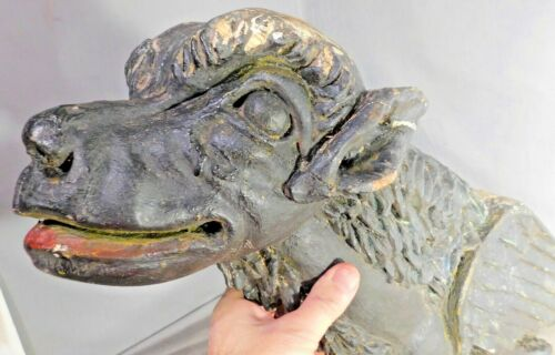 Antique 1700s Carve Wood Gothic Gargoyle Griffon Architectural Figurehead Dragon