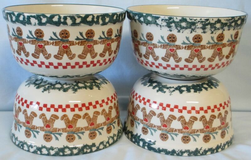 Tienshan Folkcraft Brown Gingerbread Man Cereal Bowl set or 4