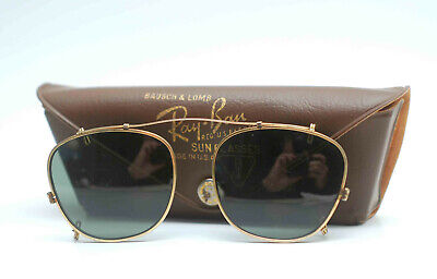 VINTAGE RAY BAN B&L BAUSCH LOMB CLIP ON SUNGLASSES 44 WITH ORIGINAL CASE GREEN