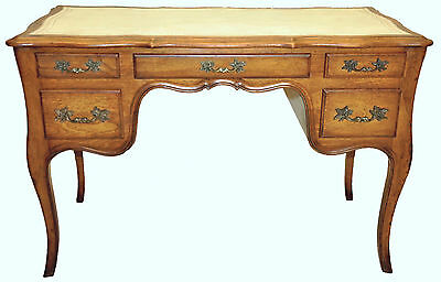 Country French Style Oak Vanity Desk Original White Leather by Romweber