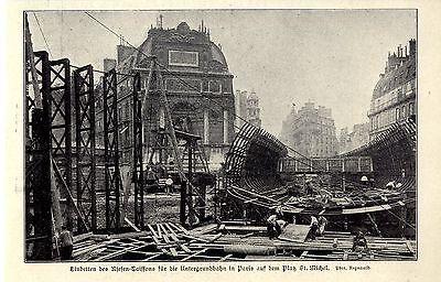 Bauarbeiten an der Pariser U-Bahn auf dem Platz St.Michel c.1906