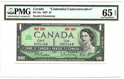 1967 $1 CANADA PMG GEM UNC 65 CENTENNIAL COMMEMORATIVE BC-45A EPQ BANKNOTE