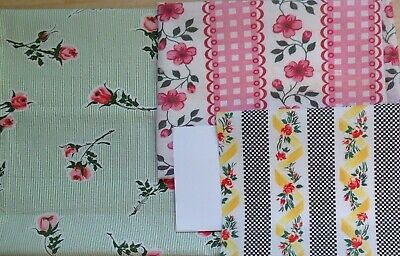 Set of 3 vintage rose cotton fabrics c1930 1940 quilting sewing fabric