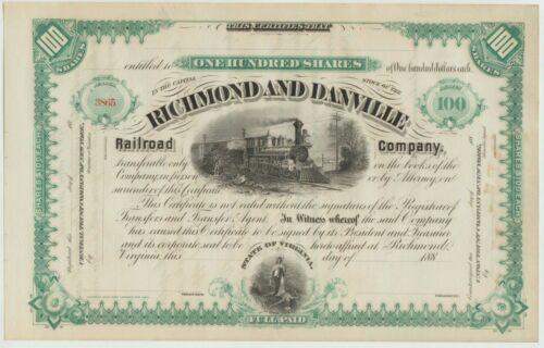 Richmond & Danville Railroad Company Stock Certificate  Green