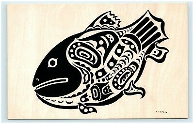 VINTAGE SALMON INDIAN MOTIF HAIDA TRIBE QUEEN CHARLOTTE CB GREUL POST CARD 1A22