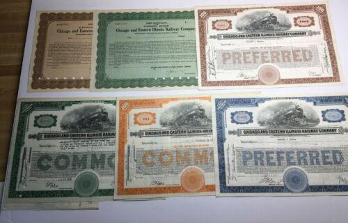 (6) CHICAGO & EASTERN ILLINOIS RAILWAY STOCK CERTIFICATES, 1937-38, 2 UNISSUED