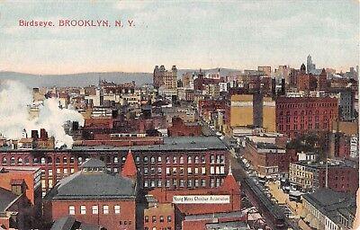 c.1910 Bird's Eye View Stores YMCA Brooklyn NY post card