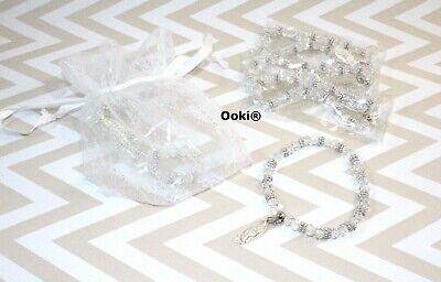 12 Guadalupe Clear Silver Crystal Bead Rhinestone Rosary Bracelet Baptism Favor Clear Bead Rhinestone Bracelet