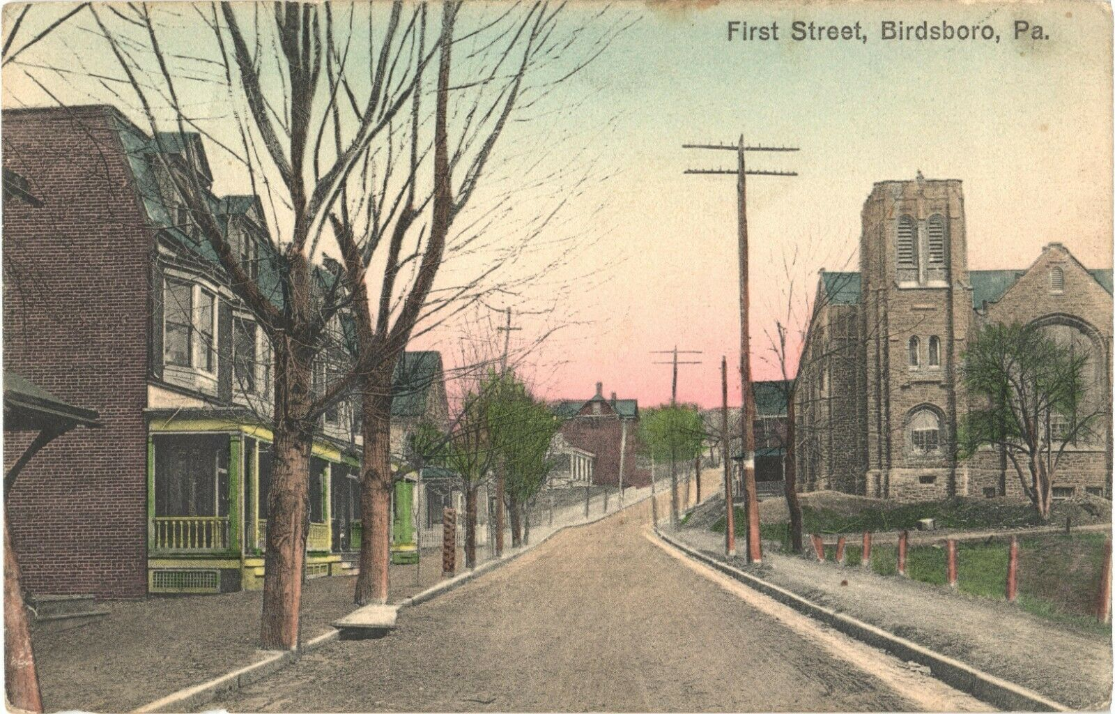 View Of Houses And Road At First Street, Birdsboro, Pennsylvania Postcard - $15.20