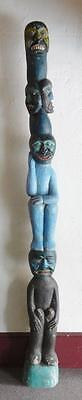 Vintage Large Wood Carved & Painted Totem Pole Originally From Alaska WOW!