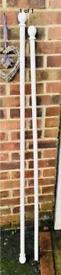 2x white wood curtain poles
