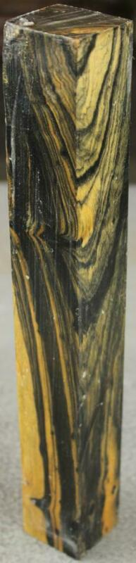"""BLACK-N-WHITE EBONY BLANK: 1 1/2"""" SQUARE x 12"""" PATTERNS ARE KIND OF CRAZY! BW574"""