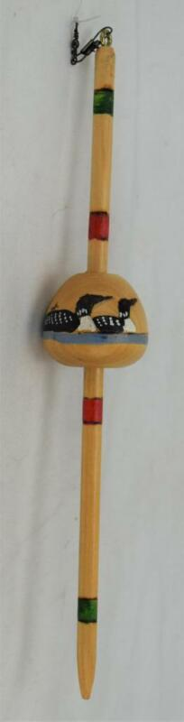 Unique Hand Painted Artist Signed Wood Loon Art Fishing Bobber C