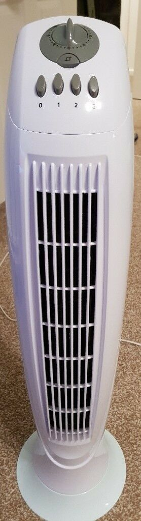 Tesco TF15 Tower Fan | Shiny White