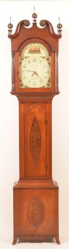 Antique John J. Krause, PA Hepplewhite Tall Case Clock