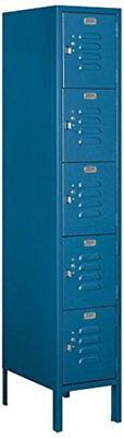 Standard Metal Locker Five Tier Box Style Combination Steel Hasp Blue Doors Lock