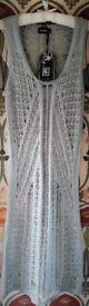 BNWT 2 CROCHET KNITTED JUMPER DRESSES Grey Knitwear Sleeveless ¾ length Boat Neck Acrylic S/M & M/L