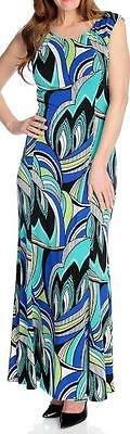Round Neck Knit Kleid (NEW - aDRESSing WOMAN Printed Knit Cap Sleeved Round Neck Maxi Dress - SZ M)