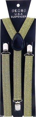 NEW Gold SPARKLE Glitter SUSPENDERS EMO  - Sparkle Suspenders