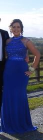 Royal Blue Formal dress with jewels, sequences and clear back