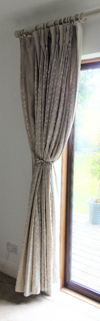 Beige Ring Top French Pleat Curtains 60 Inches Wide X 90 Drop Rings And