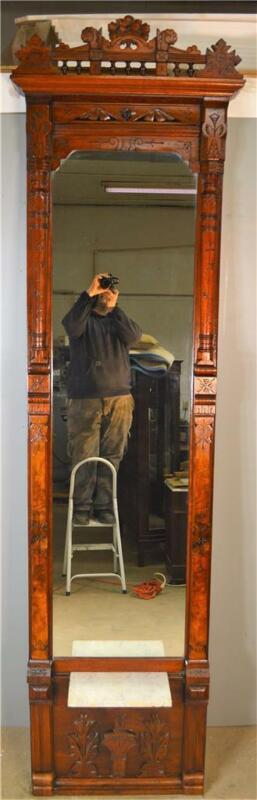 19557 Victorian Carved Burl Walnut Extremely Fancy Marble Pier Mirror