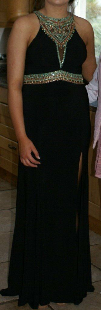Black Formal Dress with Beaded neckline & beaded detailing on back (multi-coloured) £200