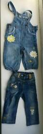 2 x Next baby girl jeans size 9-12 months