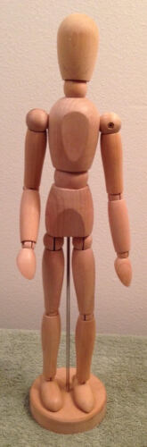 Miniature Fully Jointed Articulated Wood Mannequin Tan Pose Modeling Posing