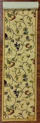 2X9 Runner Mat Rug Beige Gold Green Washable Fruit Grapes Pears Apples Kitchen