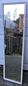 White framed long, hall mirror