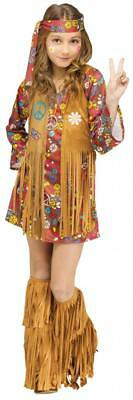 Love Child Halloween Costume (Child Girls PEACE & LOVE HIPPIE Halloween Costume Dig the 1960's)