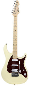 Peavey Raptor Plus Electric Guitar Ivory, 2 single coi;ls and 1 humbucker , power guitar, low action